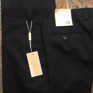 Michael Kors Black 100% wool dress flat front pant